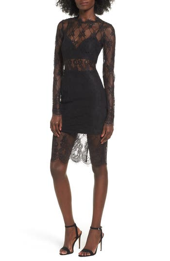 Nbd Carrie Lace Body-Con Dress, Black