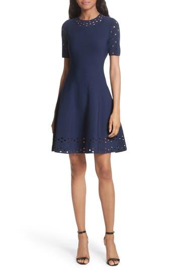 Women's Milly Pointelle Detail Knit Fit & Flare Dress, Size Petite - Blue