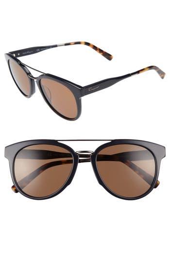 Men's Salvatore Ferragamo Retro 55Mm Sunglasses - Blue