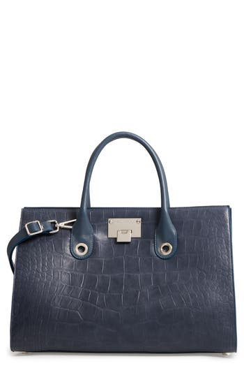 Jimmy Choo 'Riley' Leather Tote - Blue