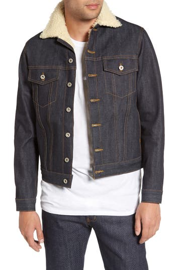Men's Naked & Famous Denim Faux Shearling Denim Jacket, Size Small - Blue