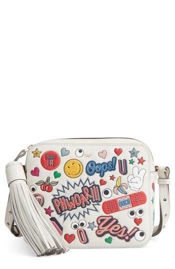 Anya Hindmarch Allover Sticker Leather Crossbody Bag - White
