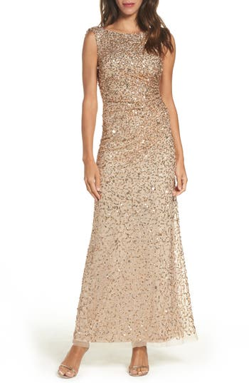 Adrianna Papell Drape Back Gown, Beige