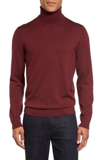 Big & Tall Nordstrom Shop Merino Wool Turtleneck Sweater, Burgundy