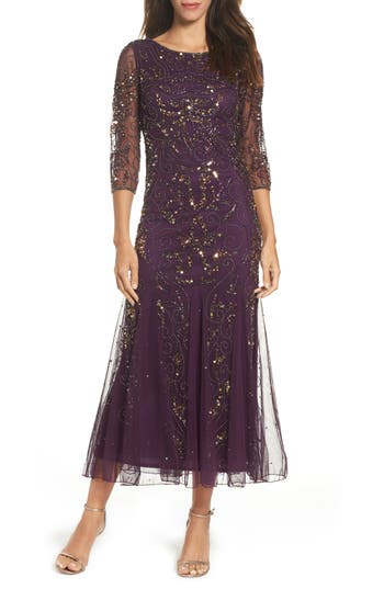 Pisarro Nights Embellished Mesh Gown, Purple