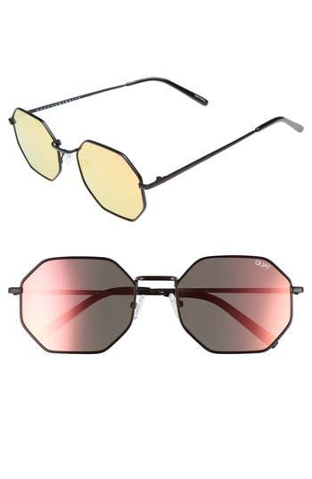 Quay Australia On A Dime 5m Mirrored Aviator Sunglasses - Black/ Rose Red