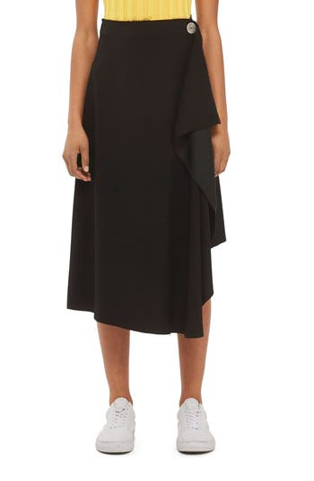 Topshop Boutique Waterfall Midi Skirt, US (fits like 0) - Black