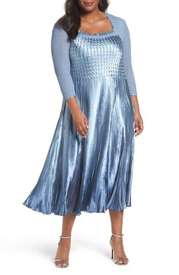 Plus Size Komarov Embellished Mixed Media A-Line Dress, Blue