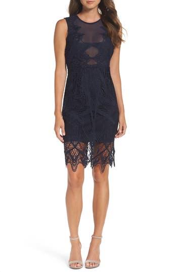 Bardot Illusion Lace Sheath Dress, Blue