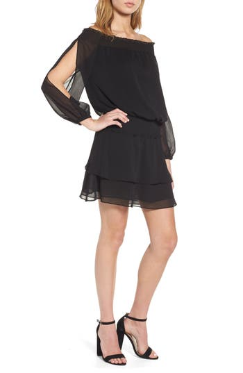 Chelsea28 Off The Shoulder Blouson Dress, Black