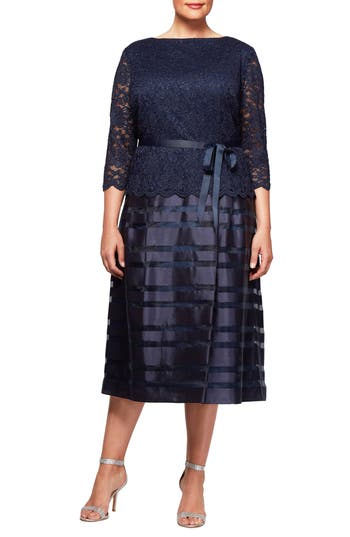 Plus Size Women's Alex Evenings Mock Two-Piece A-Line Midi Dress