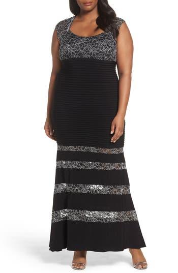 Plus Size Xscape Metallic Lace & Pintuck Jersey Mermaid Gown, Black