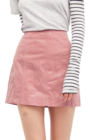 Free People Faux Leather Miniskirt, Pink