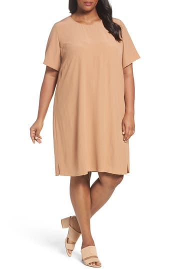 Plus Size Eileen Fisher Tencel Blend Jersey Shift Dress, Orange