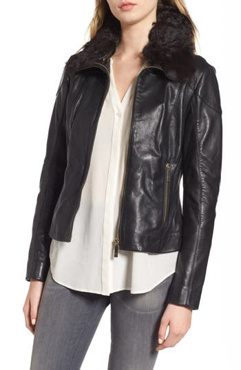 Ted Baker London Leather Jacket With Detachable Genuine Shearling, Black