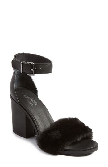 Seychelles Faux Fur Ankle Strap Sandal, Black