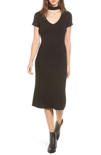 One Clothing Ribbed Choker Midi Dress, Black