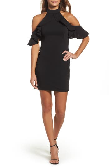 La Femme Cold Shoulder Open Back Body-Con Dress, Black