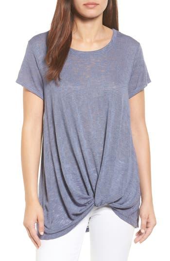 Women's Bobeau Jessica Twist Hem Slub Tee, Size X-Small - Grey