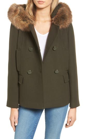 Women's Kate Spade New York Faux Fur Trim Hooded Peacoat