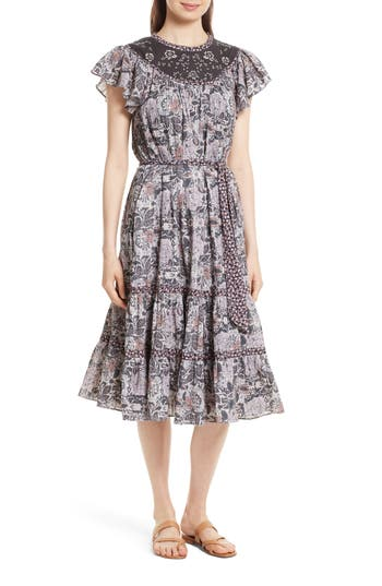 La Vie Rebecca Taylor Indochine Embroidered Floral Dress, Black