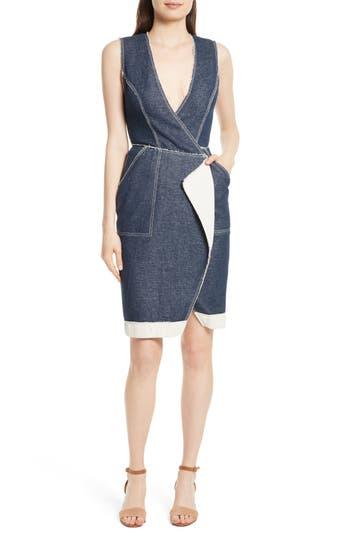 Tracy Reese Surplice Denim Sheath Dress, Blue