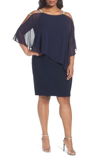 Plus Size Xscape Embellished Chiffon Overlay Sheath Dress, Blue