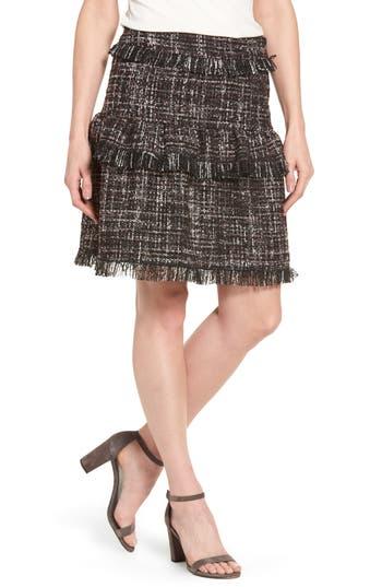 Women's Halogen Raw-Edge Tweed Skirt, Size 0 - Black