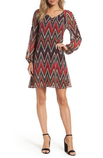 Taylor Dresses Chevron Swing Dress, Red