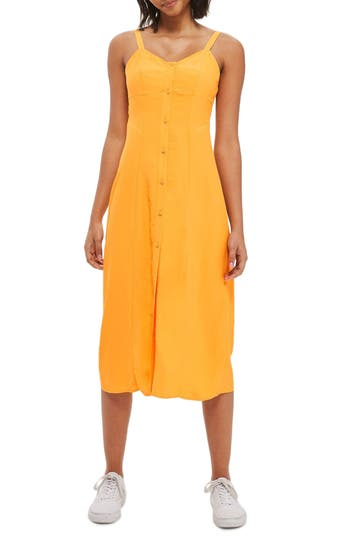 Women's Topshop Corset Button Slipdress, Size 2 US (fits like 0) - Yellow