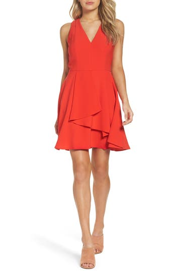 Adelyn Rae Asymmetrical Crepe Fit & Flare Dress, Red