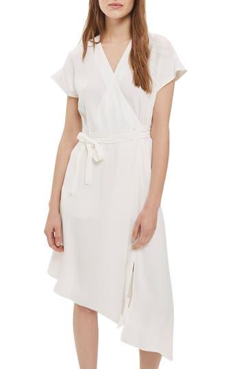 Women's Topshop Asymmetrical Wrap Midi Dress, Size 2 US (fits like 0) - Ivory