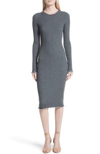Elizabeth And James Letty Ruffle Rib Knit Dress, Grey