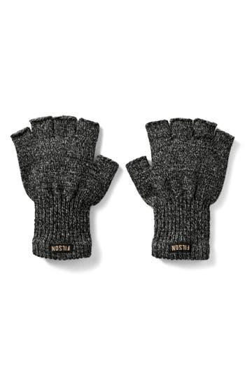 Filson Fingerless Wool Blend Knit Gloves, Black