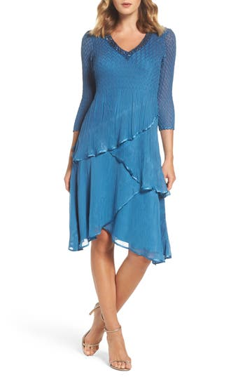 Komarov Embellished Tiered Chiffon Dress, Blue