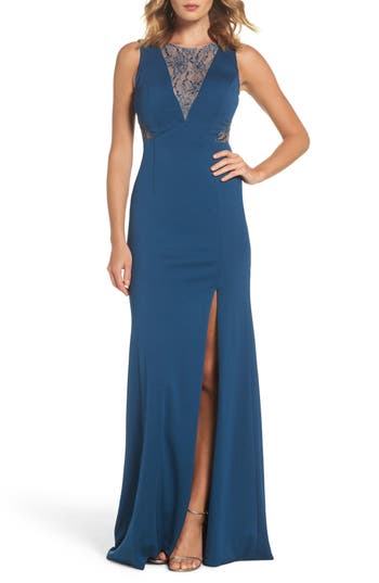 Adrianna Papell Lace & Jersey Gown, Blue