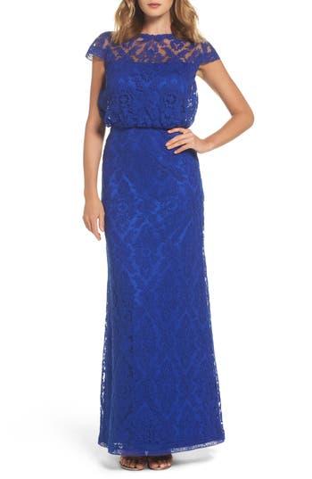 Tadashi Shoji Corded Lace Blouson Gown, Blue