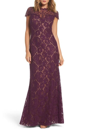 Tadashi Shoji Corded Lace A-Line Gown, Purple