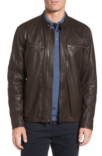Men's Cole Haan Washed Lamb Leather Moto Jacket