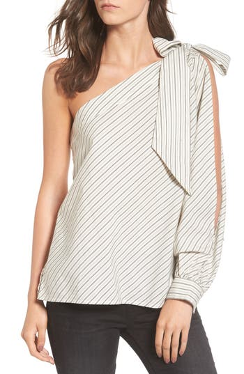 Women's Bp. Split Sleeve One-Shoulder Top, Size XX-Small - Ivory