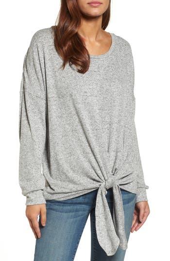 Caslon Tie Front Sweatshirt, Grey