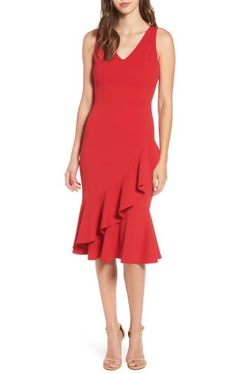 Women's Soprano Ruffle Hem Dress, Size Small - Red