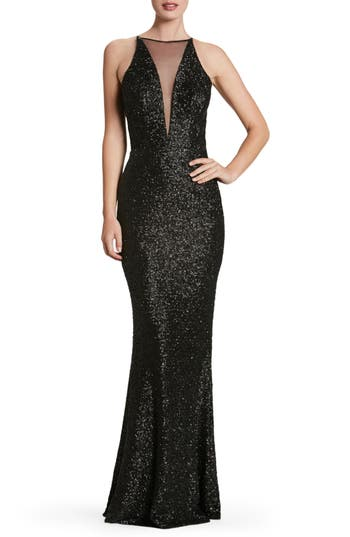 Dress The Population Brenda Plunging Illusion Sequin Mermaid Gown, Black