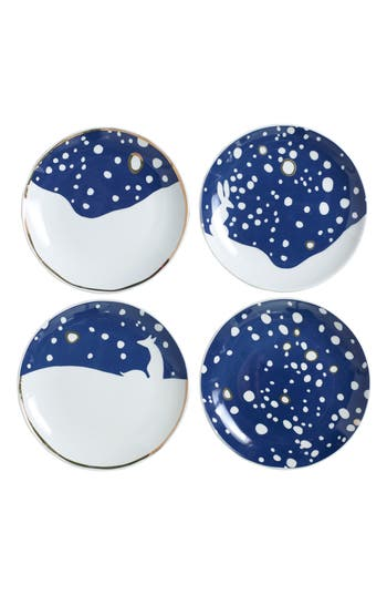 Accent Decor Eric & Eloise Snowy Set Of 4 Assorted Plates, Size One Size - Blue