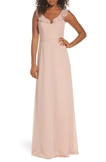 Monique Lhuillier Bridesmaids Keira Backless Chiffon Gown, Pink
