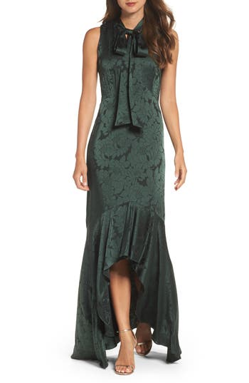 Shoshanna Mayburn Jacquard High/low Gown, Green
