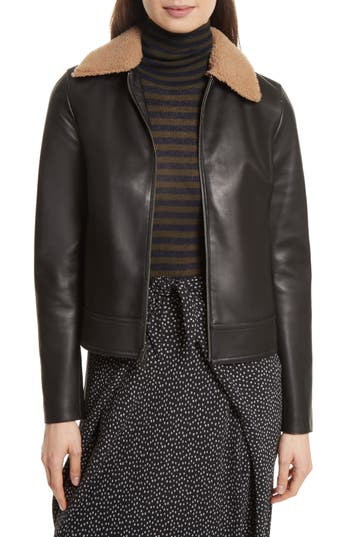 Women's Vince Leather Jacket With Genuine Shearling Trim