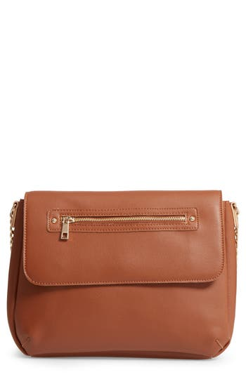 Bp. Faux Leather Flap Crossbody Bag - Brown