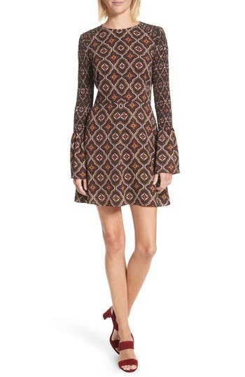 A.l.c. Alexa Print Silk Dress, Burgundy