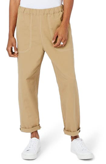 Men's Topman Ltd Collection Roll Hem Elastic Waist Chinos